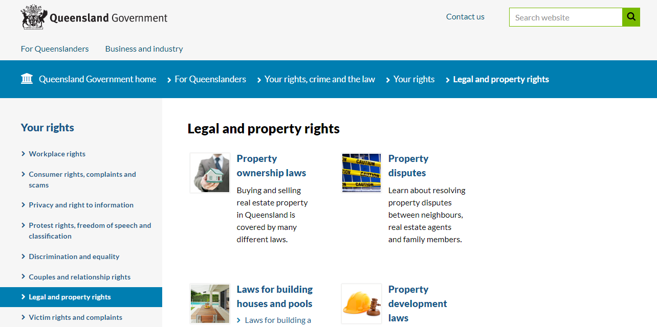 Queensland Government legal and property