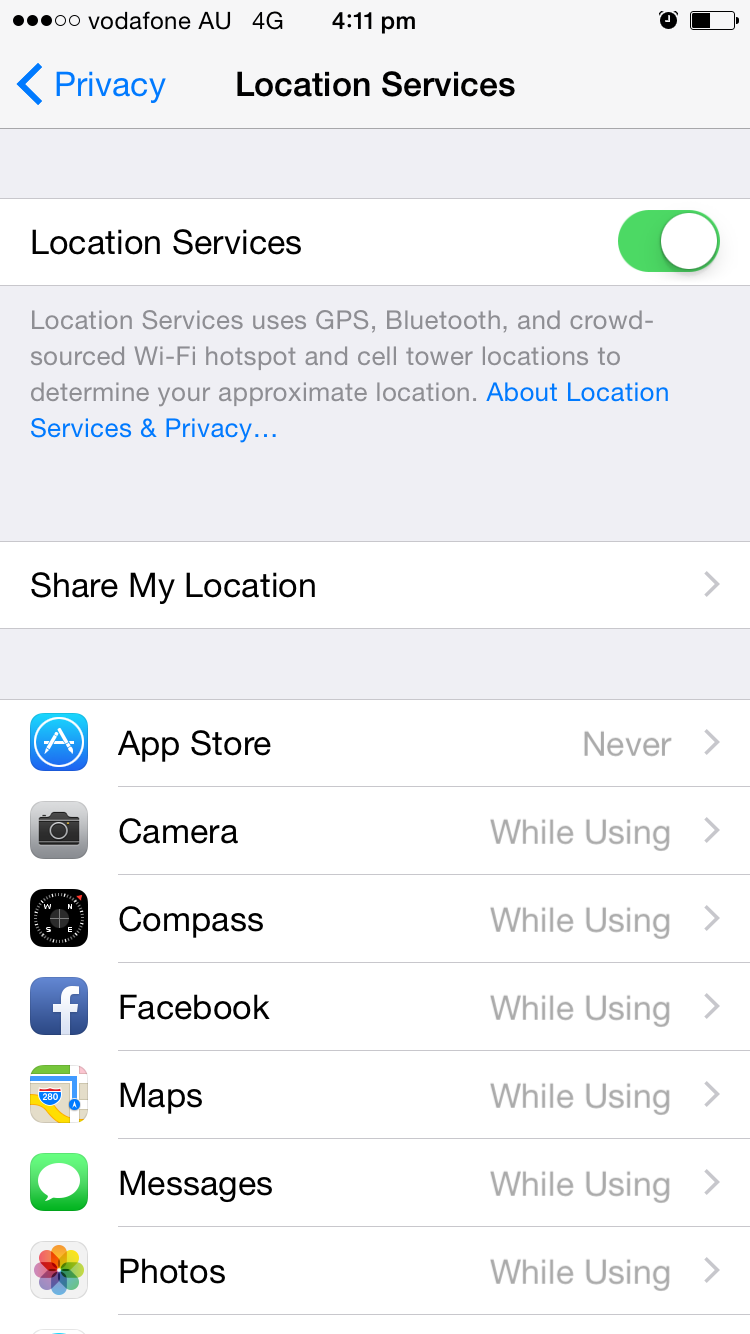 privacy settings on Iphone