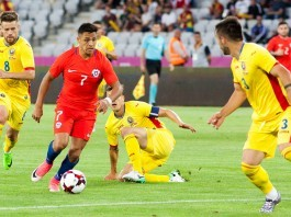 CLUJ-NAPOCA, ROMANIA - 13 JUNE 2017: Chile's Alexis Sanchez (L)
