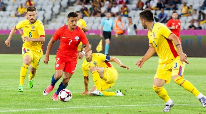 CLUJ-NAPOCA, ROMANIA - 13 JUNE 2017: Chile's Alexis Sanchez (L)