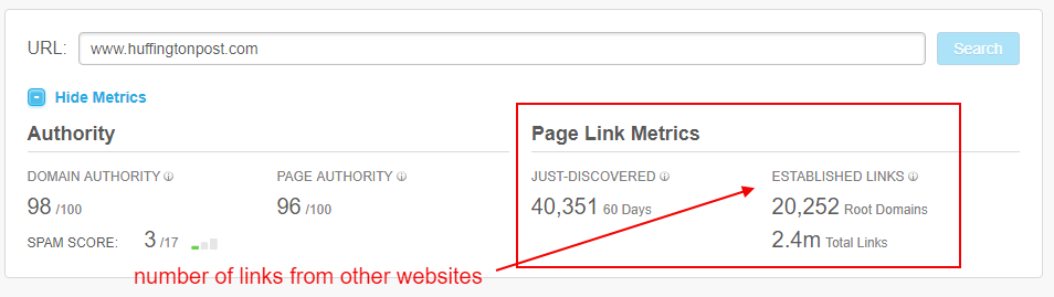 links included in MOZ rank for domain authority
