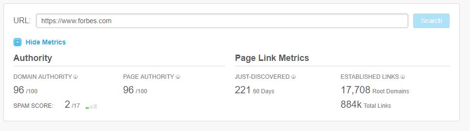 moz DA ranking for website