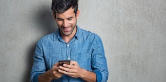 man using apps on phone