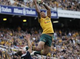 Israel Folau jumps for a high ball