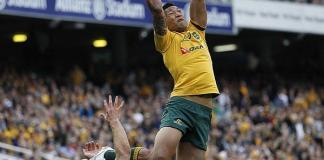 Israel Folau jumps for a high ball