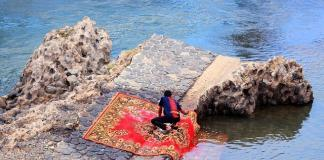 Carpet cleaning in the river