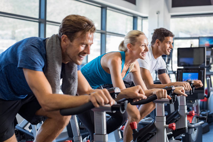 cycling at the gym