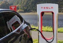 A Tesla car charging.