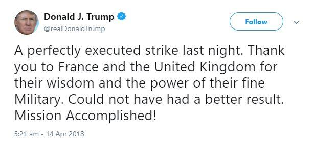 trump tweet air strike syria