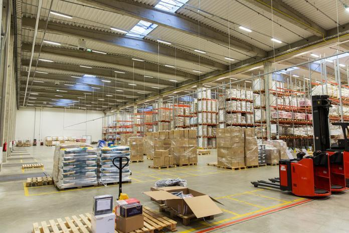 A warehouse racking system