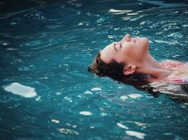 woman in a fibreglass swimming pool