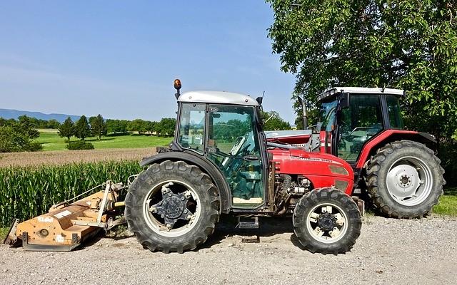 Heavy equipment on a farm