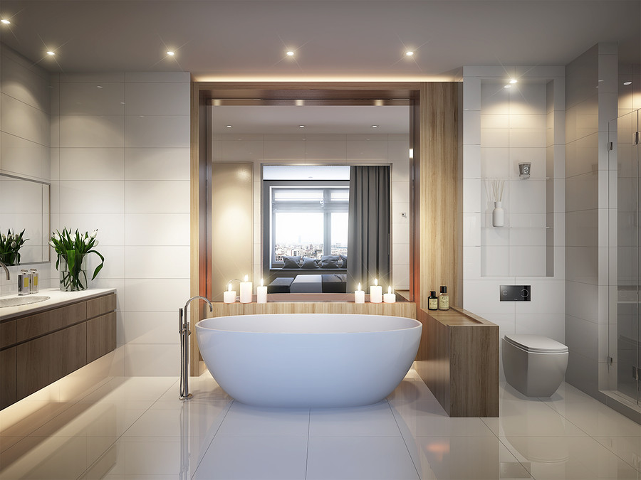 Spacious and bright modern bathroom with white tile large mirror bathtub and shower cabin. 3d rendering