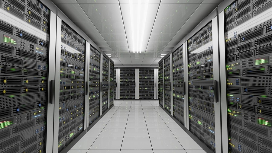 Computers and servers in datacenter. Data storage and cloud services concept. 3D rendered illustration.