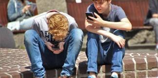 Kids on their phones
