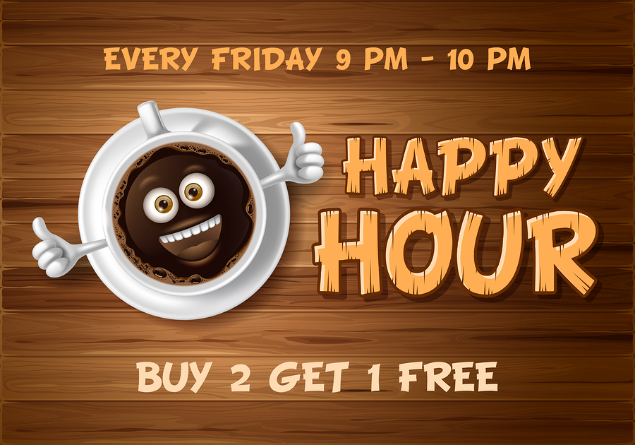 Happy Hour. Vintage vector illustration with lettering and cute cheerful coffee cup on wooden background.