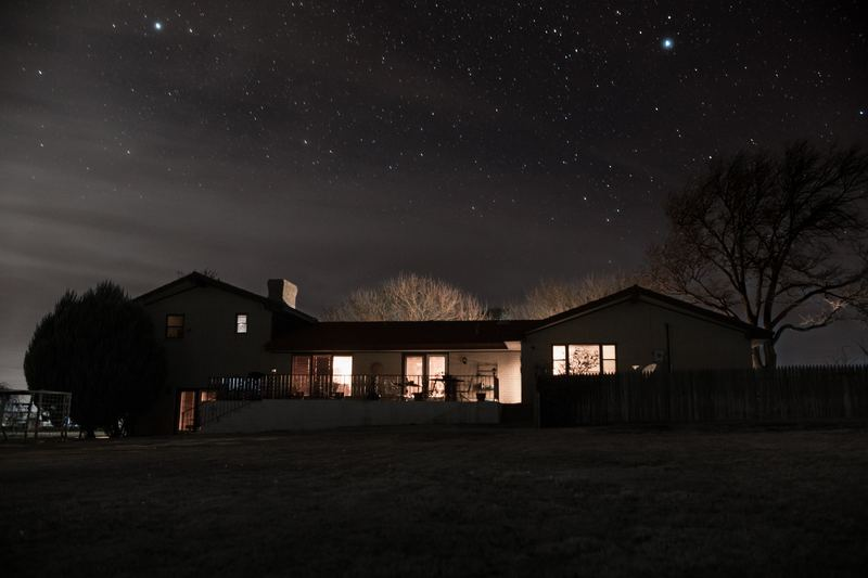Home with lights on