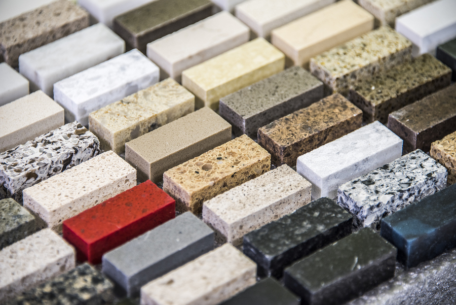 Granite countertop. Kitchen granite countertop color samples. Modern kitchen countertop. Colorfull kitchen granite countertop squares. Countertops concept. Granite Stone.