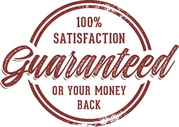 100% Satisfaction Guaranteed or Your Money Back Rubber Stamp