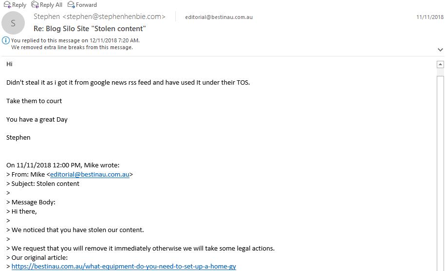 response to DMCA