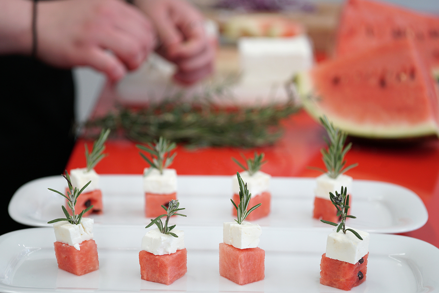 watermelon and feta cheese cubes