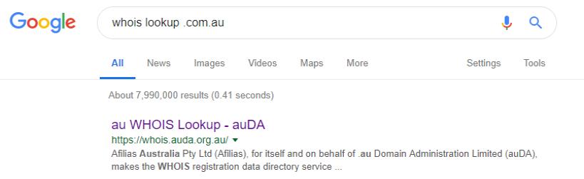 whois lookup .com.au