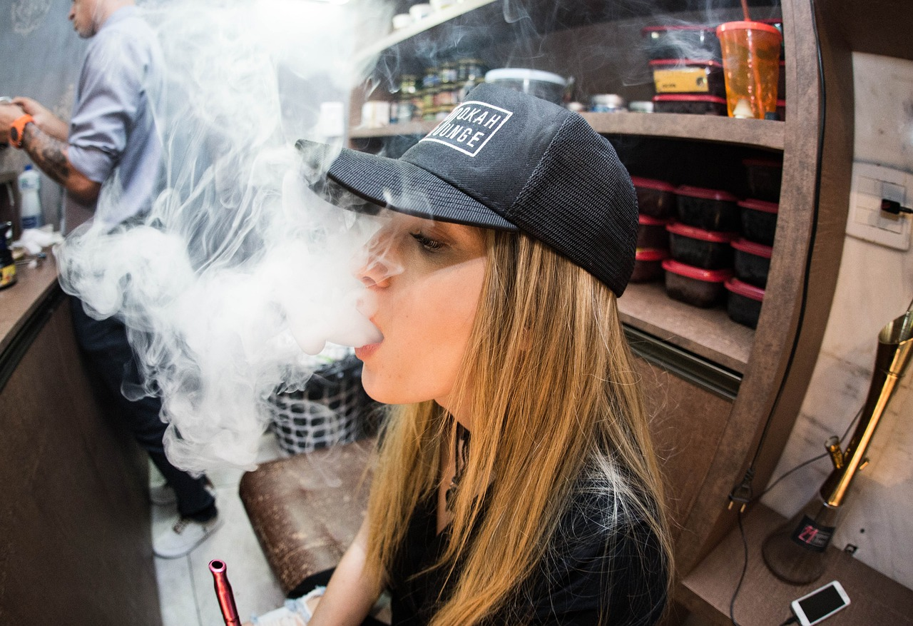 Girl using vape
