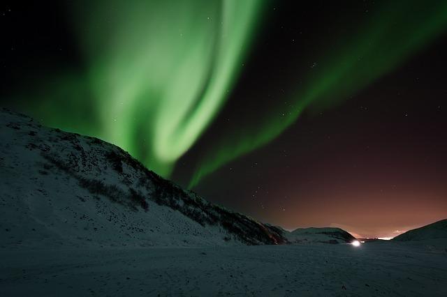 Ground level shot of an aurora