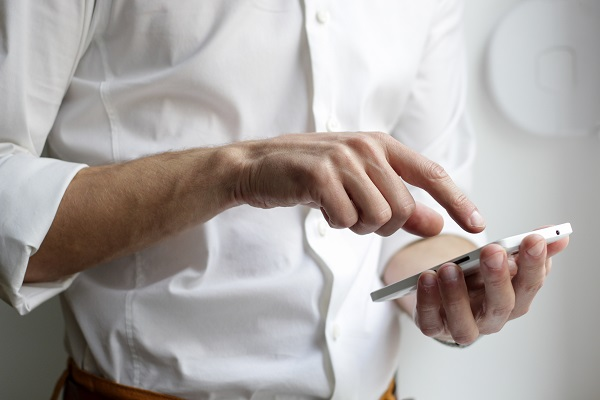 Man holding a mobile phone