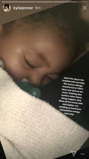 Kylie Jenner posts stormi on her Instagram story.