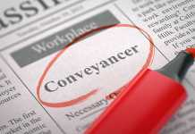 A newspaper column in the classifieds with the vacancy of conveyancer, circled with a red marker.