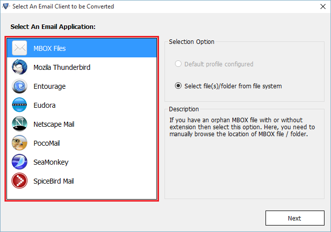choose the MBOX files option
