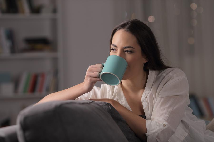 drinking tea night