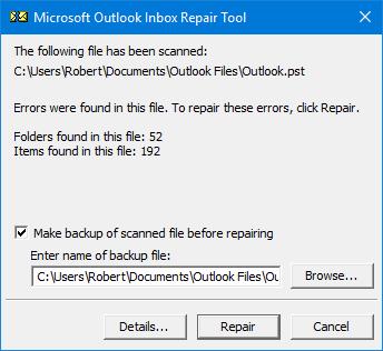 Repairing outlook File