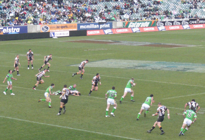 Canberra stadium, Wests vs Raiders, 17 july 2006 (raiders won 20-18 in w:Golden point extra time)