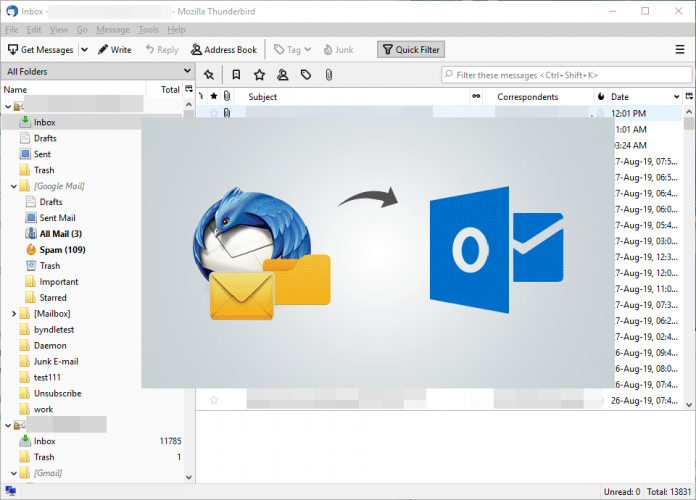 Migrate Thunderbird Email to Microsoft Outlook File