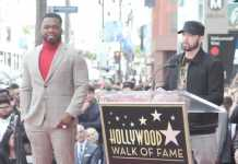 Eminem makes rare public appearance at 50 Cent's Walk of Fame induction