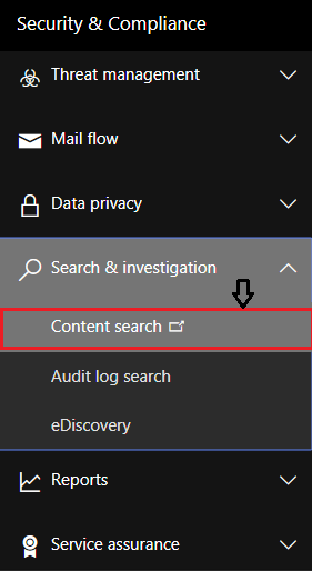 Content Search to perform Export