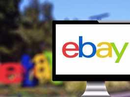 Monitor showing eBay logo