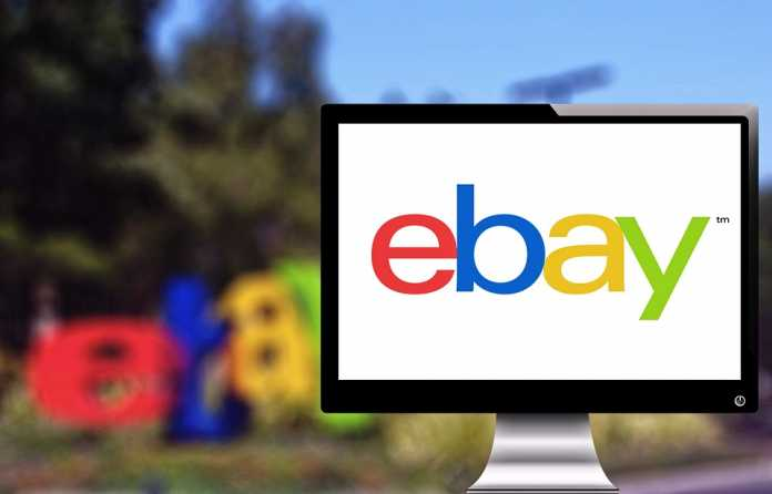Monitor showing eBay logo