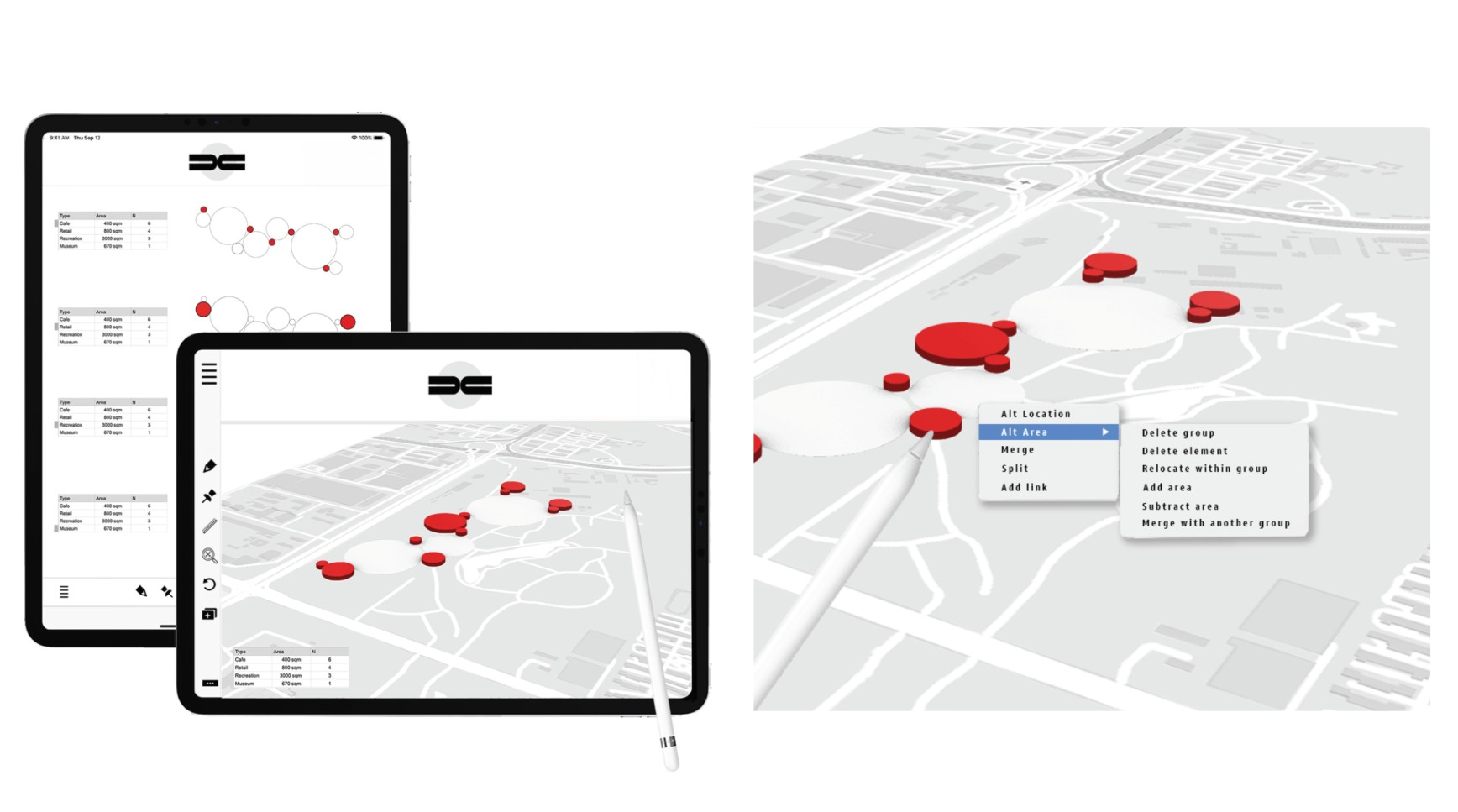 Uflow Juxtaposition and volumes - pinning visual data to the map
