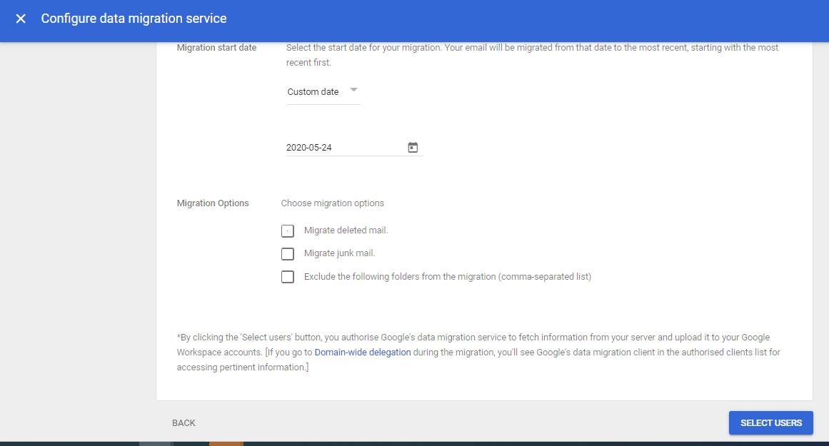 configuring data migration service