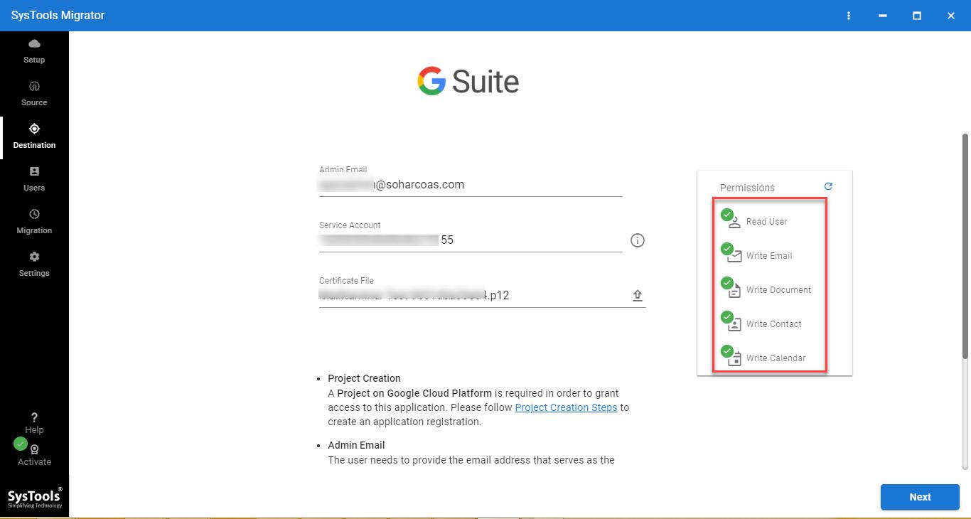 destination G Suite admin account