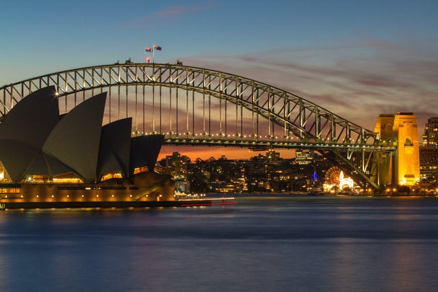 The Sydney Opera House and Sydney Harbour Bridge. Sydney is a damily-friendly holiday destination where you can stay in an Airbnb.