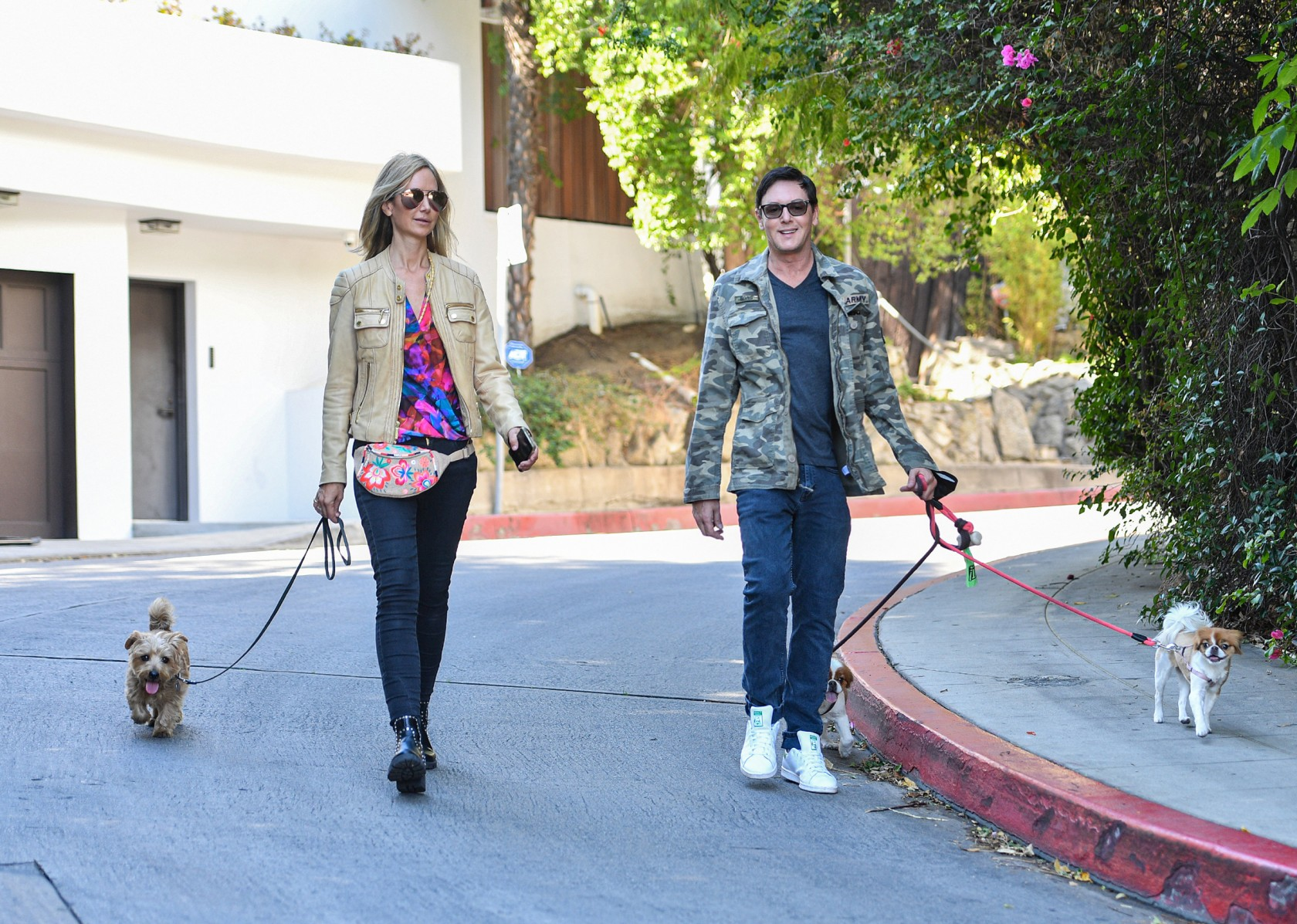 All smiles! Dog lovers Lady Victoria and Sean Borg enjoy a Hollywood stroll with their adorable pups