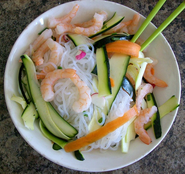 A bowl of shirataki noodles and other keto-friendly foods.