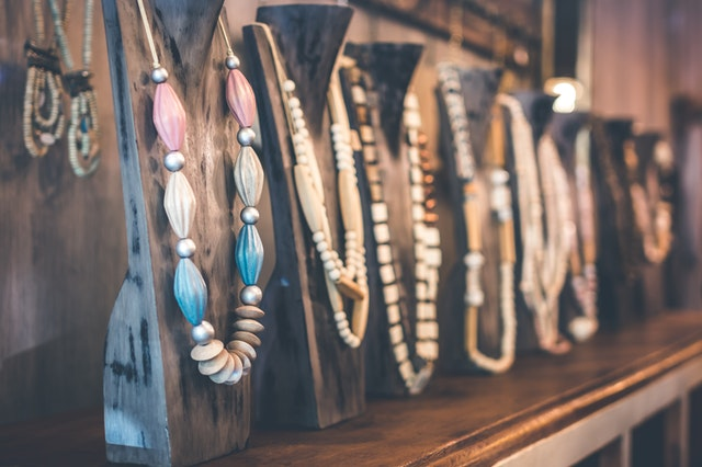 Fashion necklaces used for accessorising outfits.