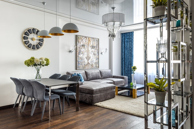 A living room with interior design hacks for anxiety.