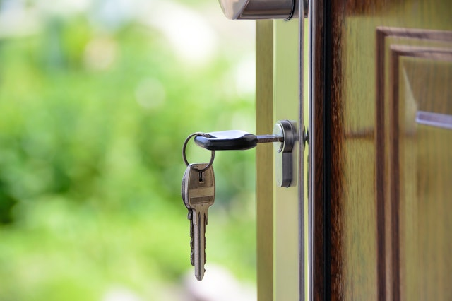 A key in the door of a new Sydney housing development.