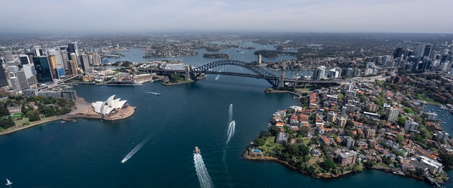 View of Sydney harbour and the housing developments to save money on.